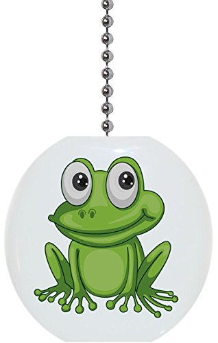 Frog with Big Eyes Solid Ceramic Fan - Frog Fan Pull