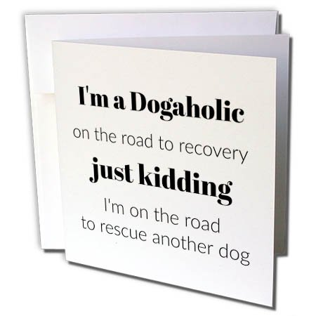 Funny Hanukkah Gifts (3dRose BrooklynMeme Funny Sayings - Im a dogaholic on the road to recovery - 1 Greeting Card with envelope (gc_265194_5))