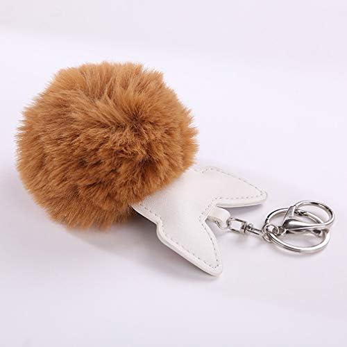 Rose Pinhan Mignon Boule De Cheveux Porte-cl/és PU Chiot Porte-cl/és Sac Pendentif Bijoux Accessoires Femme Petit Cadeau