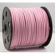 Pink Faux Leather Suede Necklace Bracelet Lace Cord Ultra Microfiber Hand Knitted Strap