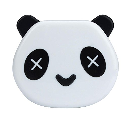 Mirror Contact Lenses (XUANOU Cute Contact Lens Case Cartoon Panda Shape Candy Color Box With Mirror (White))