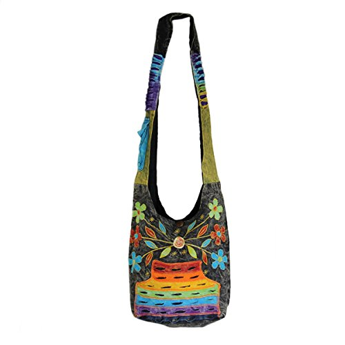 Rising International Stone Washed Flower Patch Hobo Bag Multi Color