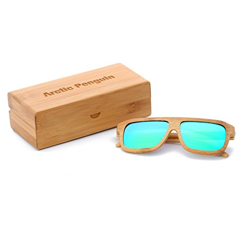 Arctic Penguin Bamboo Wood Polarized Wayfarer Sunglasses For Men and Women With Bamboo Box (Bamboo, - Sunglasses Beautiful Most