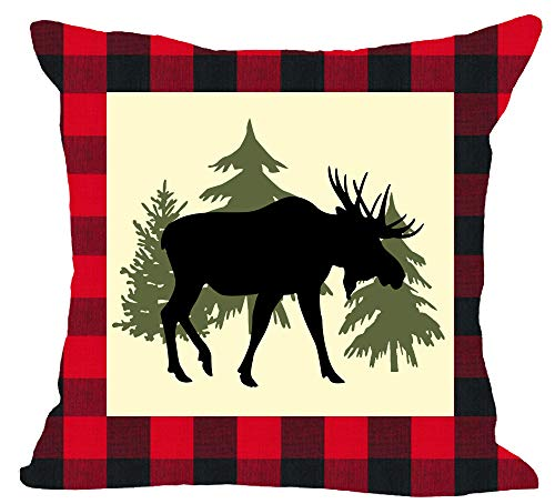 (Classic Red and Black Plaid Welcome to The Wild Animal Moose Tree Forest Winter Cotton Linen Square Throw Waist Pillow Case Decorative Cushion Cover Pillowcase Sofa 18x18 inches)