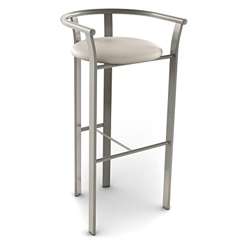 Amisco Lolo Metal Counter Stool, 26-Inch, Titanium