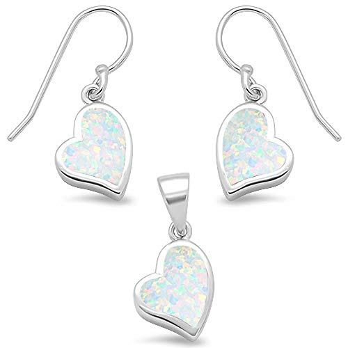 (Sterling Silver Lab Created Opal Heart Shape Dangling Earring & Pendant Set (Lab Created White Opal))