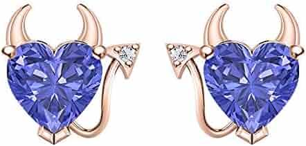 RUDRAFASHION Heart Shape Blue Topaz /& White CZ Diamond 14k Yellow Gold Over 925 Sterling Silver Devil Jewelry Set Earrings Pendant Necklace