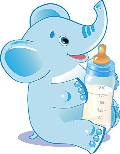 Amazon Com Cute Baby Gender Reveal Cartoon Animal With Milk Bottle Boy Elephant Blue Vinyl Sticker 8 Tall Automotive