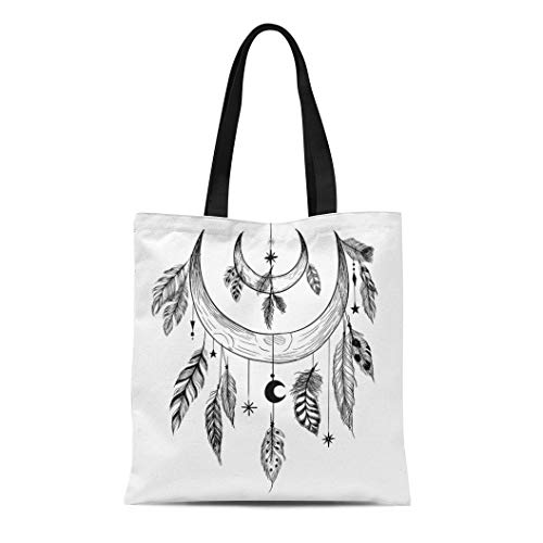 Semtomn Cotton Canvas Tote Bag Tattoo Detailed Mystical Feathers Beads Moons Stars and Crystals Reusable Shoulder Grocery Shopping Bags Handbag - Rosary Beads Tattoo