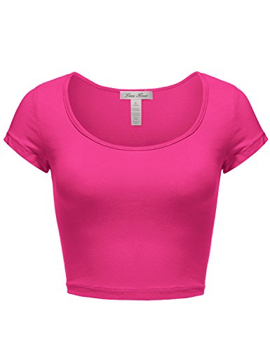 Cute Basic Short Sleeve Scoopneck Cotton Crop Tops 028-Fuchsia US S