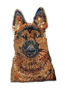 Pastor alemán de parche hierro en/coser en bordado, color