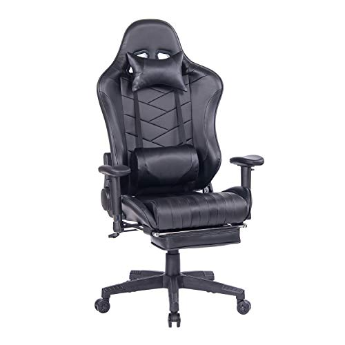 HEALGEN Reclining Gaming Chair with Retractable Footrest,Racing Style PC Computer Gamer Chair,High Back Ergonomic Office Desk Chair with Headrest Lumbar Support Cushion Black