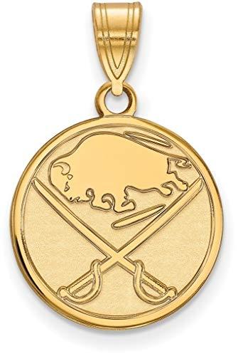 Gold-Plated Sterling Silver NHL Buffalo Sabres Medium Pendant by LogoArt