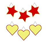 Wall Hanging Geometric Shapes - 3 hearts, 3 stars, Reversible Red / Yellow