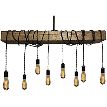 Farmhouse Style Light Fixture Wrapped Wood Beam Antique