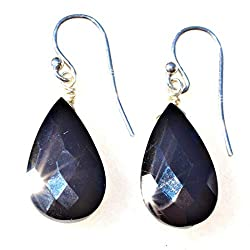 Sterling Silver Black Tourmaline Crystal Earrings