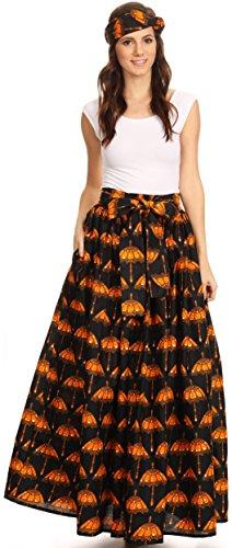 Sakkas Asma Convertible Traditionnelle Cire Imprimer Sangle rglable Jupe Longue | Robe 519-blackorange