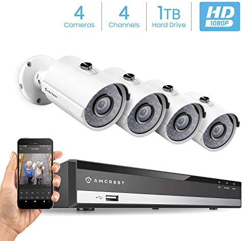 Amcrest Full-HD 1080P 4CH Video Security System w Four 2.0 MP 1920TVL Outdoor IP67 Metal Bullet Cameras, 98ft Night Vision, Pre-Installed 1TB Hard Drive, AMDV10814-4B-W-1TB
