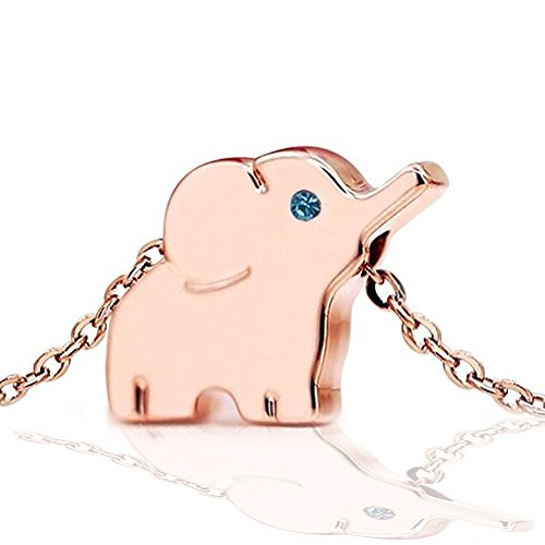 Elephant Necklace 18k Rose Gold Plated Stainless Steel Elephant Animal Lucky Elephant Necklace Jewelry ()