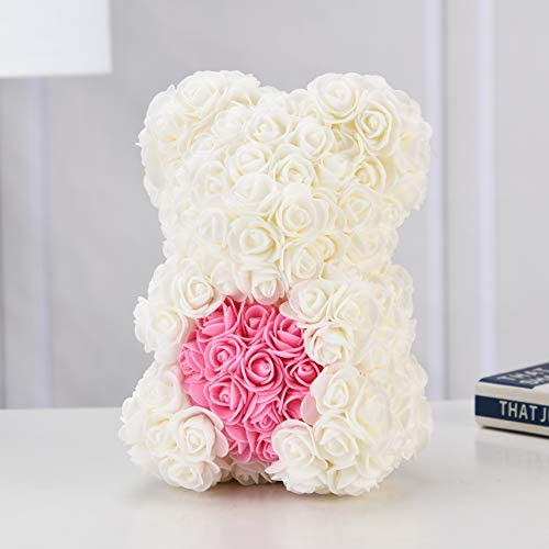 Rose Teddy Bear -10 Inches -Over 300+ Flowers on Every Rose Bear - Gifts for Women,Gifts for mother, Birthdays, Bridal Showers,Valentine's Day,Mothers - Clear Gift Box Included (10in, White)