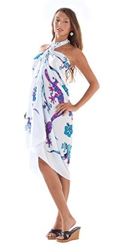 1mundo pareos para mujer Gecko y Floral Swimsuit–Pareo Azul Royal