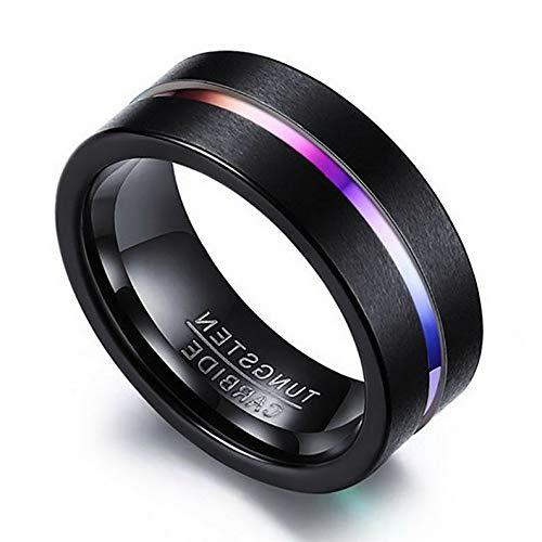 Rhame Men Women Tungsten Carbide Steel Wedding Engagement Black Band Ring Size 6-13   Model RNG - 21481   6