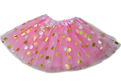 The Hair Bow Company Little Girls Baby & Toddler Gold Polka Dot Tulle Tutu Skirt for 0-2 Years Lt Pink