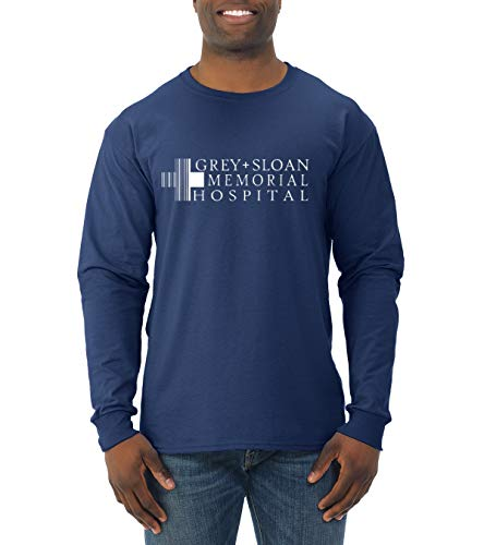 Wild Bobby Grey Sloan Memorial Hospital Fan Logo | Mens Pop Culture Long Sleeve T-Shirt, Navy, Small