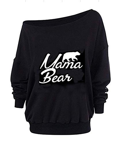 Roshop Women Oversized Off-The-Shoulder Slouchy Sweatshirt with Inside Fleeced (XXXL, Black 5)