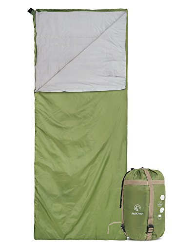 "REDCAMP Ultra Lightweight Sleeping Bag for Backpacking, Comfort for Adults Warm Weather, with Compression Sack Green(75""x 32.5"")"