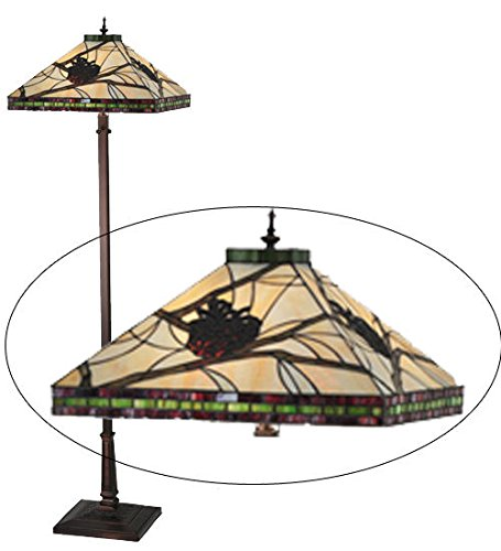 Tiffany Style Stained Glass Pinecone Floor Lamp