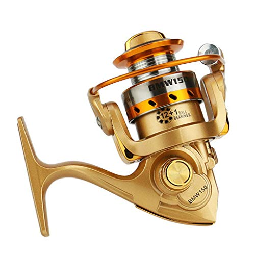 (AutumnFall Road Asian Fishing Wheel Spinning Fishing Reel BMW150 Metal Spool Folding Arm Left Right 5.2:1 (Gold))