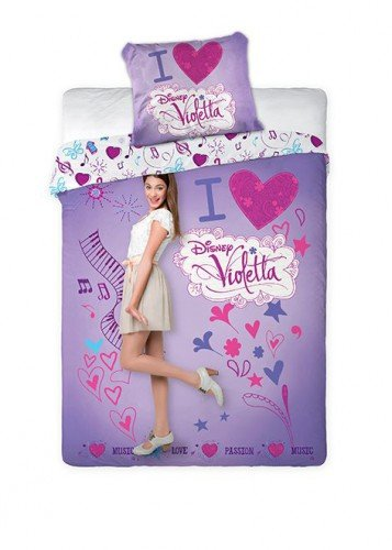 Copripiumino Violetta Una Piazza E Mezza.Violetta I Love Violetta Set Letto 100 Cotone Copripiumino E