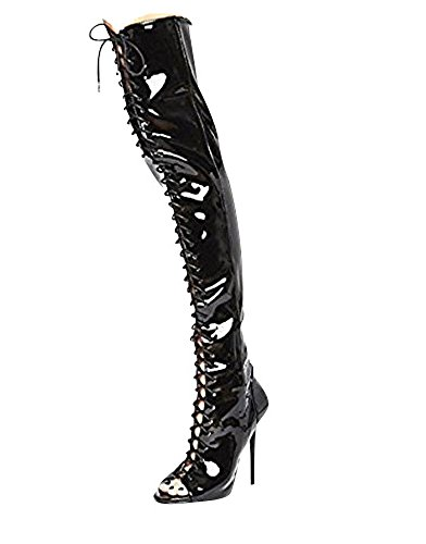 SKO'S Womens Ladies Sexy Over The Knee Thigh High Lace UP Stilettos Heels Boots Size Black Patent (15508)
