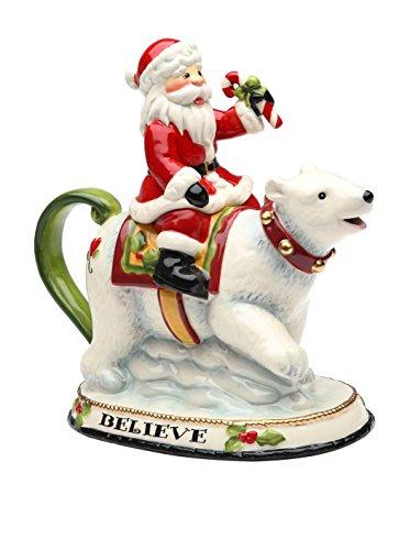 Cookie Jar Teapot (Cosmos Gifts 10632 Santa Riding Polar Bear Teapot, 12-Ounce, 7-5/8-Inch)