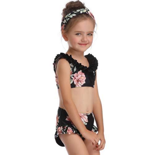 (Baby Girls One Pieces Backless Rash Guard Swimsuits Age 2-14 years Toddler Tankini Bikini Bathing Suits CapsA)