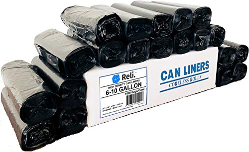 Reli. Trash Bags, 6-10 Gallon (Wholesale 1000 Count) - Star Seal High Density Rolls (Black) - Garbage Bags, Can Liners with 6 Gallon, 7 Gallon, 8 Gallon, 9 Gallon, 10 Gallon Capacity