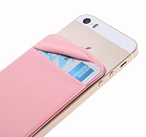 Case Art Plus Credit Card Secure Holder Stick on Wallet [ Lid ] Discreet ID Holder Lycra Spandex Card Sleeves for Smartphones, iPhone 6, Samsung Galaxy Cell Phone Wallet Case 3M Adhesive (Rose (M8 Cell Phone Case Wallet)