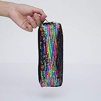 Wansan astuccio con paillette borsa con ricamo semplice con paillette borsa per trucco cosmetica borsa con cerniera borsa per ufficio scuola studente