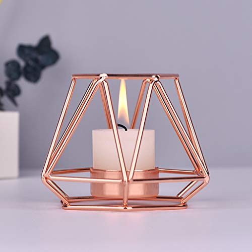 - Metal Candlestick Holders Gold Geometric Taper Candle Holders European Style Home Decoration for Dinner Wedding Party (Rose Gold, S)