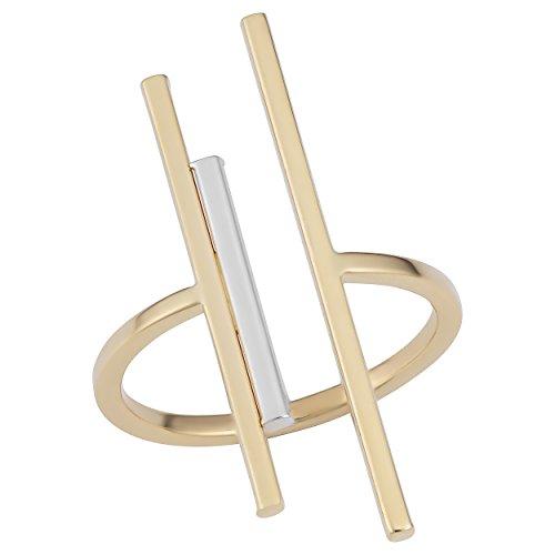 (Kooljewelry 14k Two-Tone Gold Open Triple Bar Ring (Size 10))
