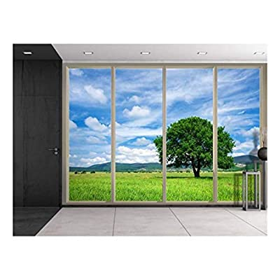 Premium Creation, Wonderful Composition, Clouds Over Mountains and a Lone Tree on a Green Field Viewed from Sliding Door Creative Wall Mural Peel and Stick Wallpaper