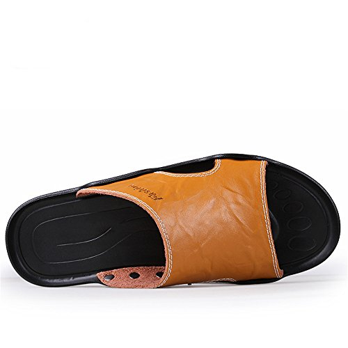 antiscivolo Orange Color shoes Dimensione pelle 45 Sandali Pantofole con vacchetta spiaggia Casual suola uomo da in vera di 2018 Marrone EU da Mens BqTxwaqf