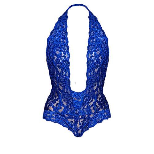 Dunacifa Lingerie for Women Plus Size Halter Sexy Lace Teddy Bodysuit Deep V Backless Underwear