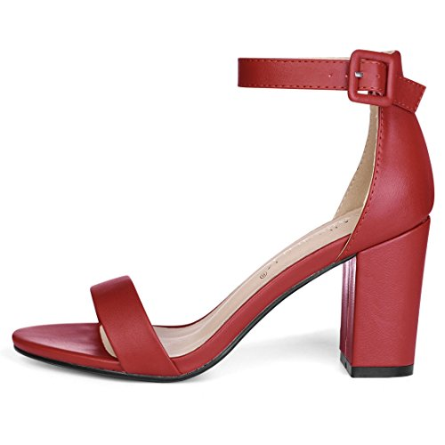 Toe Heel Allegra Women Open Ankle Strap Chunky K Sandals High Red wFw1S6q