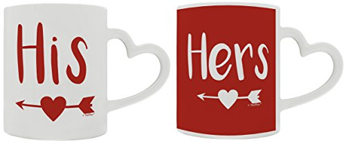 Anniversary Gifts for Boyfriend Girlfriend His & Hers Arrow Heart Valentines Gifts for Couples Wedding Anniversary 2 Pack Heart Handle Gift Coffee Mugs Tea Cups White