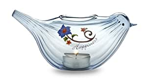 We Love by Pavilion 6-1/2 by 2-3/4-Inch Glass Tea Light Candle Holder, Happiness