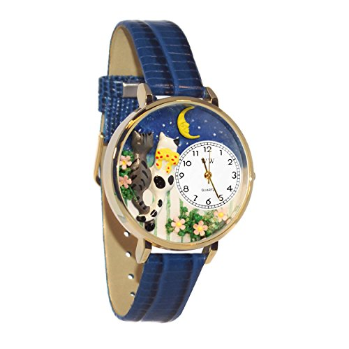 Whimsical Watches Unisex G-0120009 Cats Night Out Blue Leather Watch