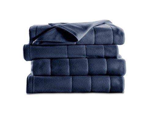 Electric Heated Fleece Blanket, Full , Newport Blue -  Sunbeam, BSF9LFR59522BWD