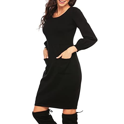 2fabf0f4a9 OD lover Women s Knit Sweater Long Sleeve Crewneck Midi Sweater Dress With  Pocket